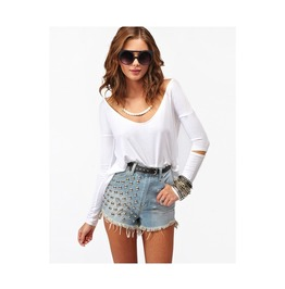 Hollow Out Sleeve White Women Top T Shirt Tee