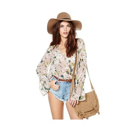 Floral Flare Long Sleeve Chiffon Top Blouse