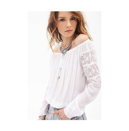 White Sleeve Long Sleeve Lace Top T Shirt Tee