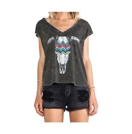 Bulls Head Skull Printed Sleeveless Deep V Neck Hem Cotton Top T Shirt Tee