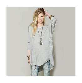 Grey Long Sleeve Asymmetric Newest Novelty Loose T Shirt Top