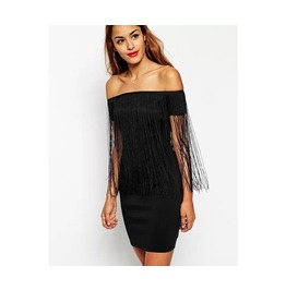 Black Off Shoulder Tassel Mini Dress