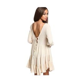 Apricot Long Sleeve Backless Spring Ruffle Summer Dress