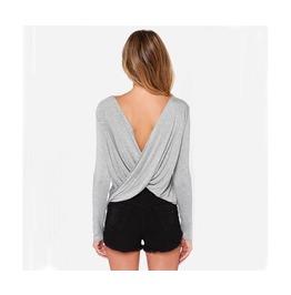 Grey Long Sleeve Backless T Shirt