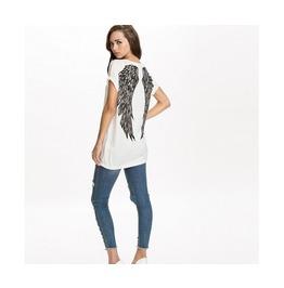 White/Grey Angel Wings Back Women T Shirt