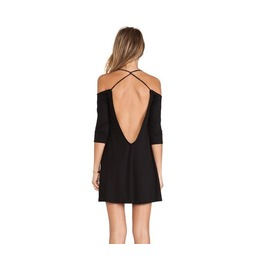 Black Backless 3/4 Sleeve Mini Dress