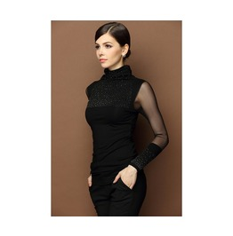 Womens Turtleneck Long Sleeve Black Top T Shirt