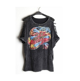 Women's Harley Davidson Print Punk Ripped Sleeve T Shirt