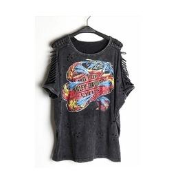 Women's Harley Davidson Print Punk Ripped Sleeve T Shirt