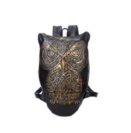 Gothic Black/Gold/Silver Color Pu Leather Owl Backpack