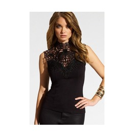 Womens Sleeveless Lace Up Backless Black Top