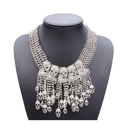 Silver And Gold Colors Skull Statement Necklace
