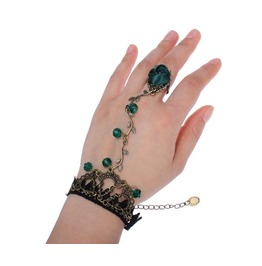 Black/Red/Green Gothic Lace Rose Bracelet