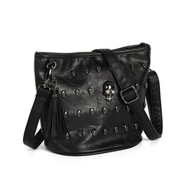 Skull And Rivets Black Faux Leather Shoulder Bag