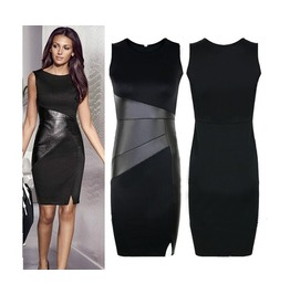 Black Leather Splice Sleeveless Dress