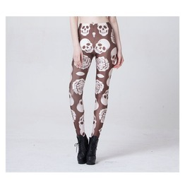 Skull And Rose Printed Leggings