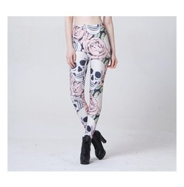 Skull And Rose Printed Leggings.