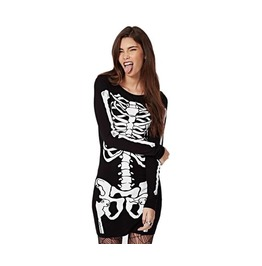 Skeleton Bones Printed Long Sleeve Black Punk Dress