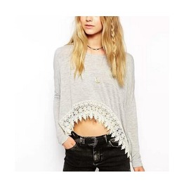 Womens Black/Gray Long Sleeve Lace Edge Crop Blouses