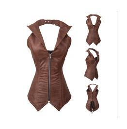 Goth/Steampunk Brown Faux Leather Halter Collar Corset Buckled Zipper