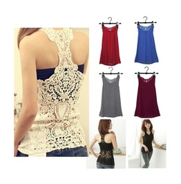 5 Colors Women's Backless Sleevess Lace Tank