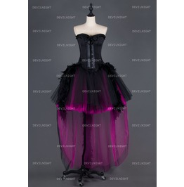 Black And Fuchsia Feather Gothic Burlesque Corset High Low Prom Party Dress