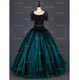 Romatic Gothic Short Sleeves Long Prom Party Gown