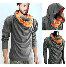 New Grey Cowl Tunnel Neck Hoodie Cloak Long Sleeve Shirt Men S M L Xl 2 Xl