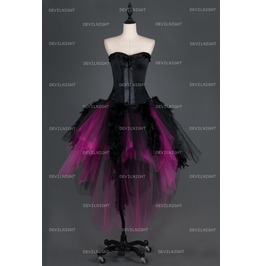 Black And Fuchsia Feather Gothic Burlesque Corset Irregular Prom Party Dres
