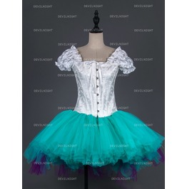 White And Tiffany Blue Gothic Burlesque Corset Short Prom Party Dress