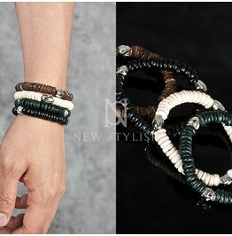 Sliced Beads With Metal Skull Bracelet 60