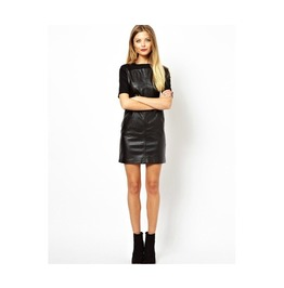 Regular/Plus Sizes Short Sleeve Black Leather Mini Dress