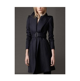 Black Color Slim Pinched Long Woolen Coat