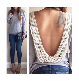 Backless Long Sleeve Black/Leopard/Gray Top T Shirt Plus Sizes