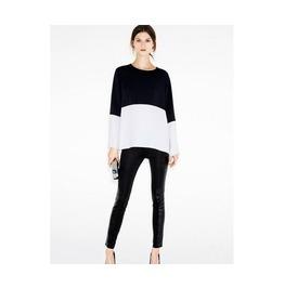 Black/White Long Sleeve Elegant Casual Blouses