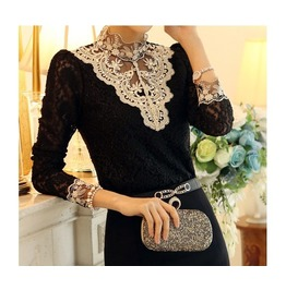 Black/White Hollow Puff Sleeve Casual Lace Blouses