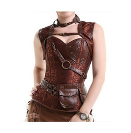 Black/Silver/Brown Steel Boned Gothic Steampunk Corsets Plus Sizes