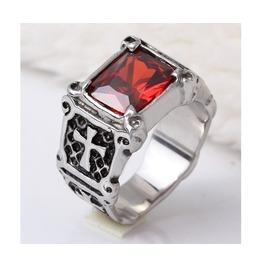 Cross Sign Red Gem Designed Stainless Steel Ring