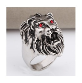 Lion Head Red Eyes Stainless Steel Ring