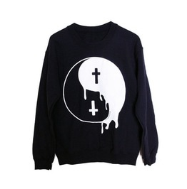 Bad And Good Symbol Printed Sweatshirt