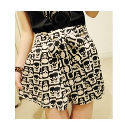 Digitally Multi Skull Printed Punk Skirt