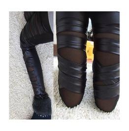 Black See Through Leather Looking Bandage Leggings