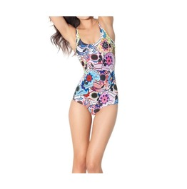 Day Of The Dead Multi Color Digitally Skull Printed Swimsuit