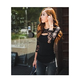 Lace Up Floral Black Long Sleeve Women Top
