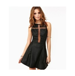 Cross Chest Sleeveless Faux Leather Black Dress