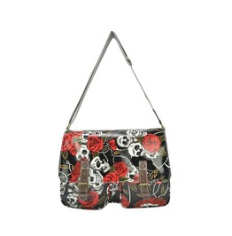 Roses And Skull Faux Leather Shoulder Bag