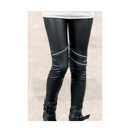 Black Leggings Metallic Zippers
