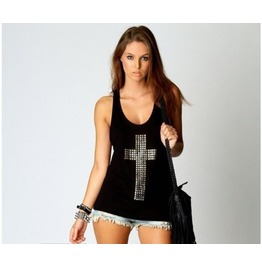 Sequined Cross Printed Women Tank Top