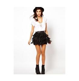 Black Tassel Mini Skirt