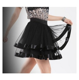 Black Chiffon Ruffle Mini Skirt